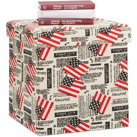 Relaxdays Storage Ottoman Pouf, Foldable Seat Cube, Storage Box with Lid, HxWxD: 38 x 38 x 38 cm, White-Red