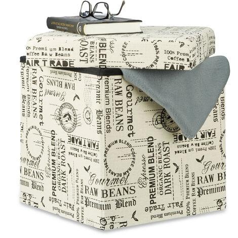 Relaxdays Storage Ottoman Pouffe, Foldable Seat Cube, Storage Box with Lid, HxWxD: 38 x 38 x 38 cm, White