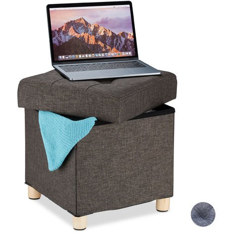 Relaxdays Storage Ottoman, Soft Padding, Quilted, Fabric Cover, Cube Seat, HxWxD: 39 x 38 x 38 cm, Brown