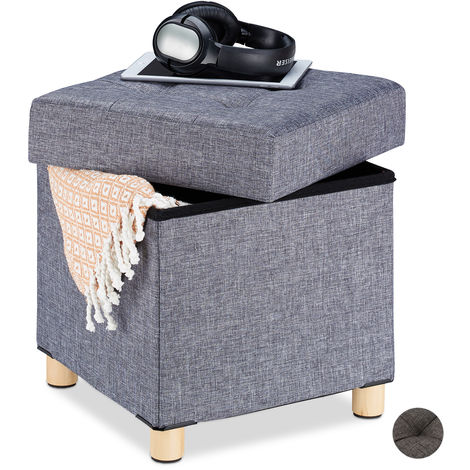 Relaxdays Storage Ottoman, Soft Padding, Quilted, Fabric Cover, Cube Seat, HxWxD: 39 x 38 x 38 cm, Grey