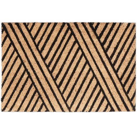 Relaxdays Stripe Coir Doormat, HxWxD: 1.5 x 60 x 40 cm, Nonslip, Striped, Coconut Fibre, Rubber, Brown-Black