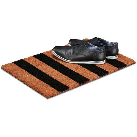 Relaxdays Stripe Coir Doormat, HxWxD: 1.5 x 60 x 40 cm, Striped, Nonslip, Rubber, Coconut Fibres, Brown-Black