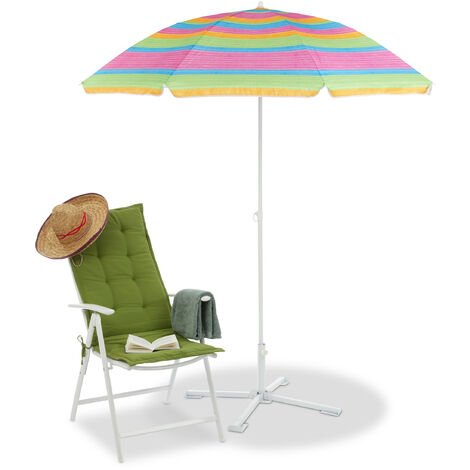 Relaxdays Striped Beach Parasol, Height-Adjustable Garden Umbrella, Sun Protection, H x D 200 x 170 cm, Colourful