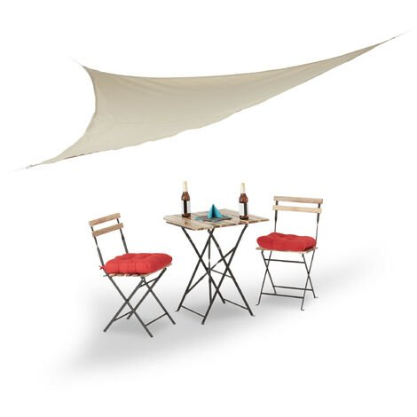 Relaxdays Sun Shade Sail, Triangular, with Tensioning Ropes, for the Garden, Patio, Balcony, Indoors, 3.5 x 3.5 x 3.5 cm, Beige
