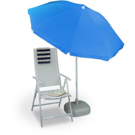 Relaxdays Sun Umbrella 180 cm, 8 Polyester Ribs, Tilt Function, Garden Umbrella, Blue