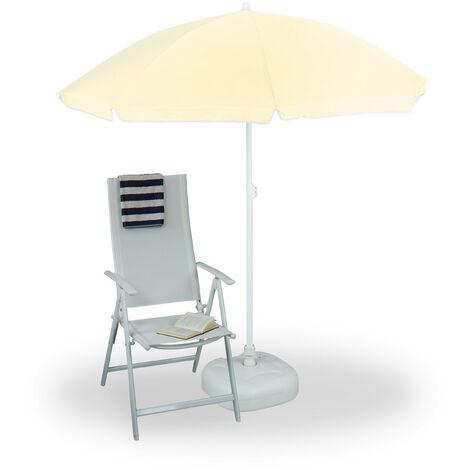 Relaxdays Sun Umbrella 180 cm, 8 Polyester Ribs, Tilt Function, Garden Umbrella, Natural