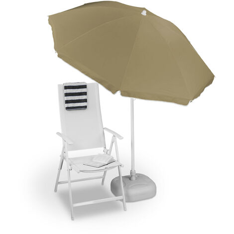 Relaxdays Sun Umbrella 180 cm, 8 Polyester Ribs, Tilt Function, Garden Umbrella, Various Colors