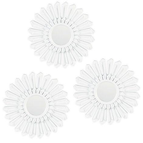 Relaxdays Sunburst Decor Mirror, Set of 3, Round Hanging Mirror, Plastic Frame, Ø 25 cm, White
