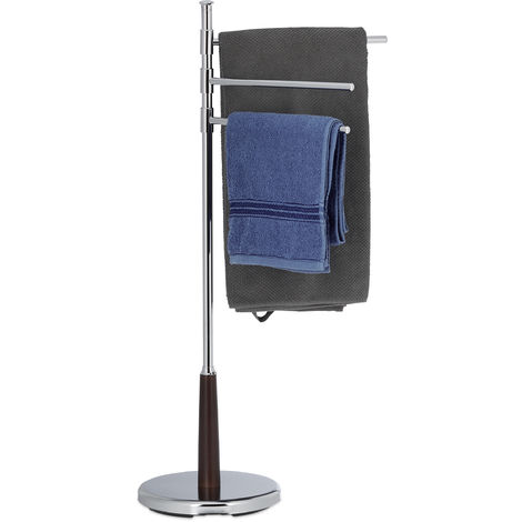Relaxdays Swivelling Towel Rack, Chromed Towel Holder Stand, 3 Adjustable Rails, Freestanding, H x W x D: 90 x 44 x 26 cm, Silver