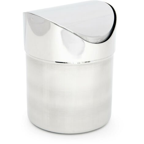 Relaxdays Table Dustbin Mini Waste Bin Container Kitchen Countertop Tabletop Trash Garbage Can Bin 1.2L Shiny Stainless Steel, Silver