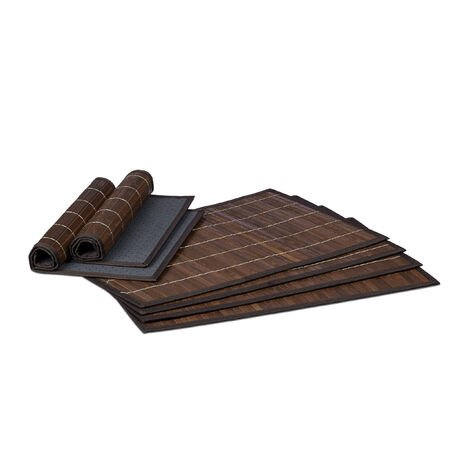 Relaxdays Table Set of 6 Place Mats, Bamboo, 6 Non-Slip Placemats, Washable, 30 x 45 cm, Brown