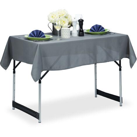 Relaxdays Tablecloth, Waterproof, Polyester Table Linens, Garden Tea Cloth, Rectangular, 110x140cm, Grey
