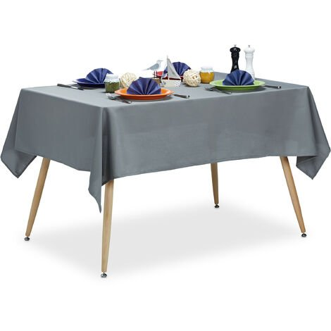 Relaxdays Tablecloth, Waterproof, Polyester Table Linens, Garden Tea Cloth, Rectangular, 140x180cm, Grey