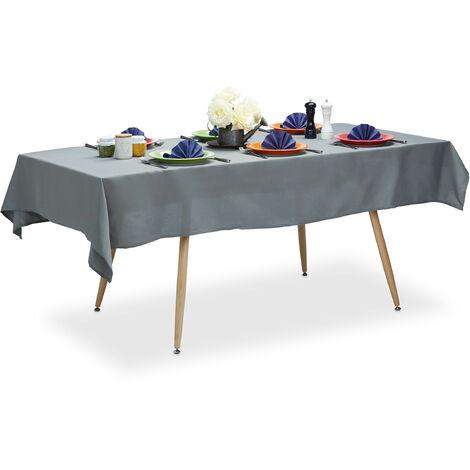 Relaxdays Tablecloth, Waterproof, Polyester Table Linens, Garden Tea Cloth, Rectangular, 140x220cm, Grey