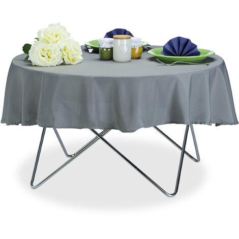 Relaxdays Tablecloth, Waterproof, Polyester Table Linens, Garden Tea Cloth, Round, Diameter 140cm, Grey