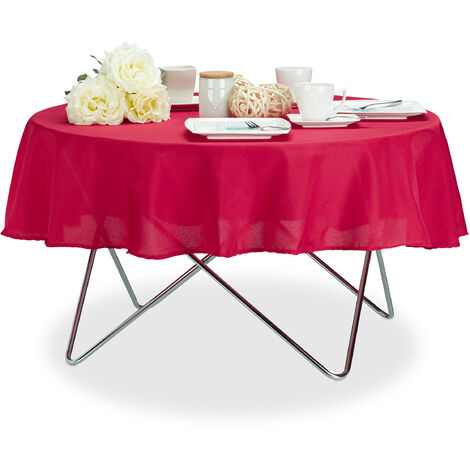 Relaxdays Tablecloth, Waterproof, Polyester Table Linens, Garden Tea Cloth, Round, Diameter 140cm, Red