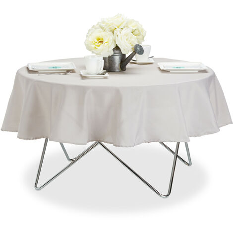 Relaxdays Tablecloth, Waterproof, Polyester Table Linens, Garden Tea Cloth, Round, Diameter 140cm, Taupe