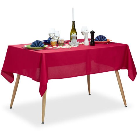 Relaxdays Tablecloth, Waterproof, Polyester Table Linens, Garden Tea Cloth Round, Rectangular, 140x180cm, Red