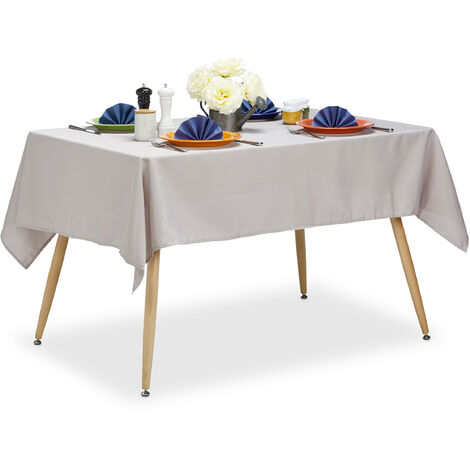 Relaxdays Tablecloth, Waterproof, Polyester Table Linens, Garden Tea Cloth Round, Rectangular, 140x180cm, Taupe