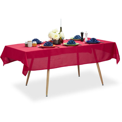 Relaxdays Tablecloth, Waterproof, Polyester Table Linens, Garden Tea Cloth Round, Rectangular, 140x220cm, Red
