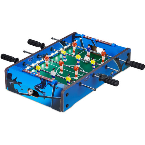Relaxdays Tabletop Foosball Game with LED Lighting, For Children & Adults, 4 Poles, 2 Balls, Table Soccer, Blue