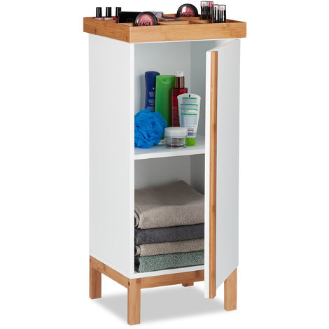 Relaxdays Tall Bathroom Cabinet with Organiser for Watches or Jewellery, Sideboard with Bamboo Elements, 80 x 35 x 30 cm, White