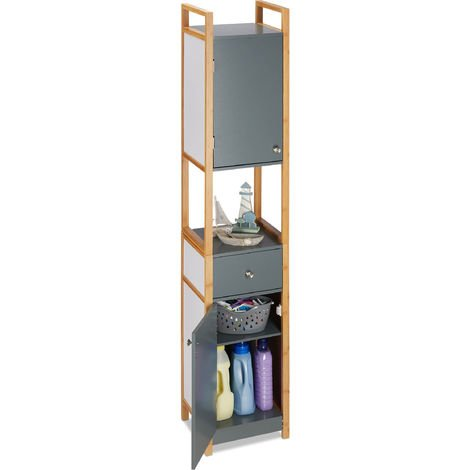 Relaxdays Tall Bathroom Cupboard, Bath Shelves, Two-Door, MDF, Bamboo Frame, HWD 165 x 31.5 x 29 cm, Grey