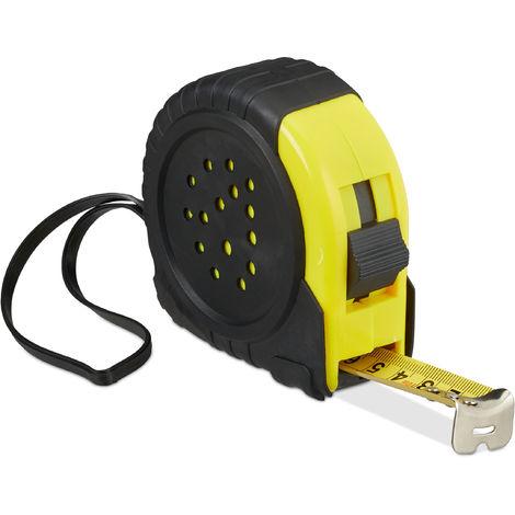 Relaxdays Tape Measure; Retractable Pro Measuring Tool, 10 m, cm & inch, Thumb Lock & Belt Clip, Metal, Black/Yellow