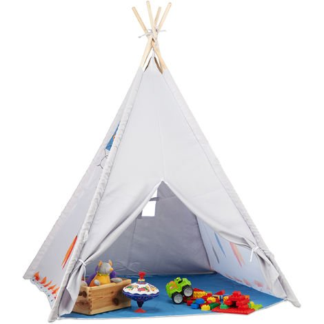 Relaxdays Teepee Play Tent, Children's Playhouse Wigwam, For Indoor and Outdoor Use, Age 3 and Up, HxWxD: 155 x 125 x 125 cm, Grey