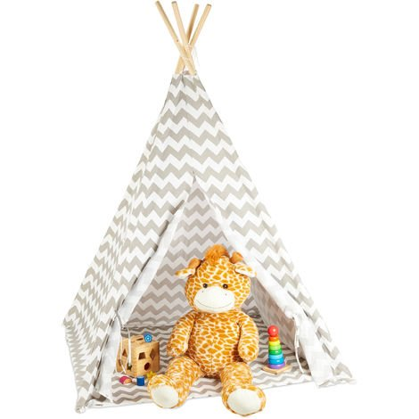 Relaxdays Teepee, Play Tent With Flooring, Includes Bag, Wigwam For Kids, HxWxD: 160 x 115 x 115 cm, White-grey