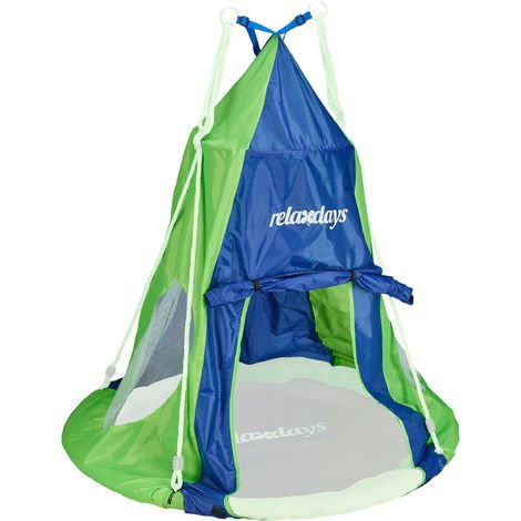 Relaxdays Tent For Swing Nest, Cover for Swinging Seat Disc, Hanging Swivel Chair Accessory, 110 cm, Blue/Green