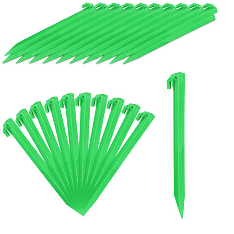 Relaxdays Tent Pegs Set of 32, Lightweight Anchor Pins, Soft & Sandy Terrain, 31 cm Long, Plastic, Stakes, Green