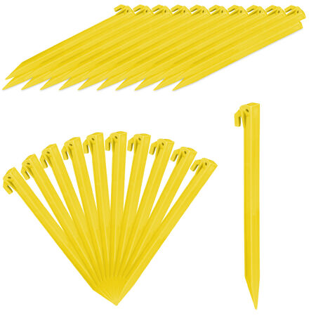 Relaxdays Tent Pegs Set of 32, Lightweight Anchor Pins, Soft & Sandy Terrain, 31 cm Long, Plastic, Stakes, Yellow
