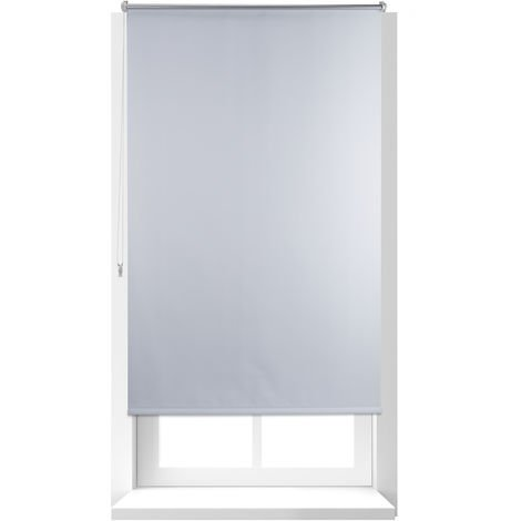 Relaxdays Thermal Blackout Blinds, Heat Protection, Side-Pull Shades, No Drilling, 100x160cm, Fabric Width 96 cm, White