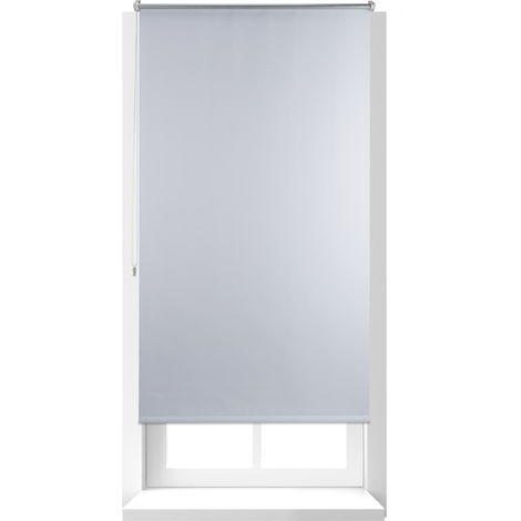 Relaxdays Thermal Blackout Blinds, Heat Protection, Side-Pull Shades, No Drilling, 90x160cm, Fabric Width 86 cm, White