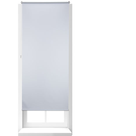 Relaxdays Thermal Blackout Blinds, Heat Protection, Side-Pull Shades, No Drilling, 90x210cm, Fabric Width 86 cm, White