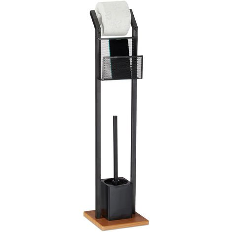 Relaxdays Toilet Accessory Set with Tray, Paper Holder, Toilet Brush with Holder, Square Base, Wooden Look, H 78 cm, Black