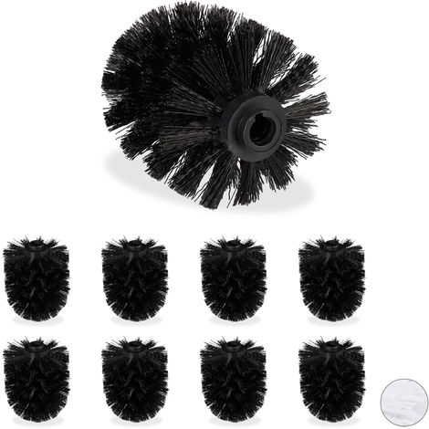 Relaxdays Toilet Brush Replacement Heads, Set Of 9, Pack Of WC Brushes, Plastic, 12 mm Thread, D: 7 cm, Black