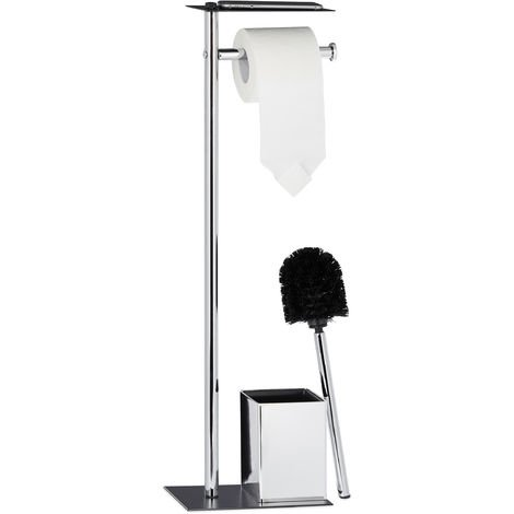 Relaxdays Toilet Butler with Paper Holder, Toilet Brush with Container, H x W x D 66 x 20 x 13 cm, Black-Silver