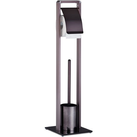 Relaxdays Toilet Butler with Paper Holder, Toilet Brush with Container, H x W x D 72 x 19 x 19 cm, Bronze-Black