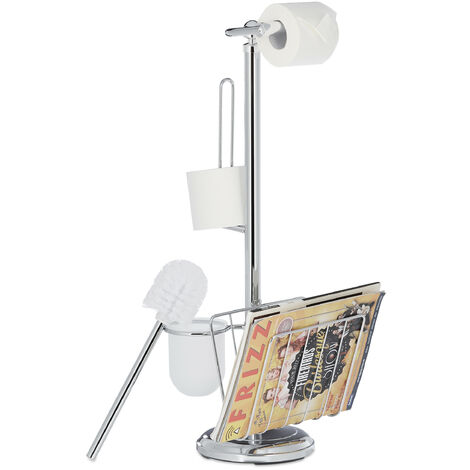 Relaxdays Toilet Butler with Paper Holder, Toilet Brush with Container, Magazine Rack, H x W x D 69 x 30 x 22 cm, Silver