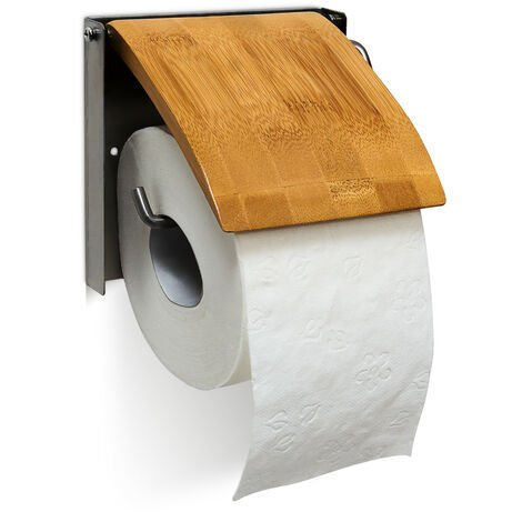 """main image of """"Relaxdays Toilet Roll Holder Wall Mounted Bathroom Toilet Paper Roll Holder Made Of Bamboo and Stainless Steel Bathroom Wall Toilet Paper Holder, Natural"""""""