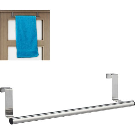 Relaxdays Towel Holder for Doors & Closet, Hanging, Stainless Steel, Rail, No Drilling, Kitchen & Bathroom, Silver