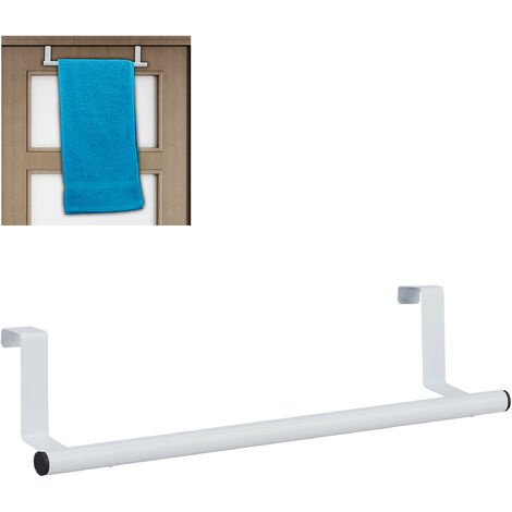 Relaxdays Towel Holder for Doors & Closet, Hanging, Stainless Steel, Rail, No Drilling, Kitchen & Bathroom, White