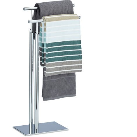 Relaxdays Towel Holder Freestanding, Towel Rack, 2 Rails, H x B x D: approx. 78 x 46 x 20 cm, Chromed Towel Stand, Silver