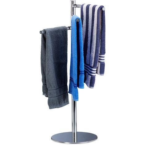Relaxdays Towel Holder, Freestanding Towel Rack, Stainless Steel, 3 Swivel Rails, H x W x D: 90 x 52 x 30.5 cm, Silver