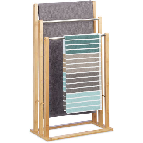 Relaxdays Towel Holder Freestanding with 3 Towel Rails, Towel Stand for Bathroom, Bamboo, Stainless Steel, HWD: 84 x 48 x 26 cm, natural
