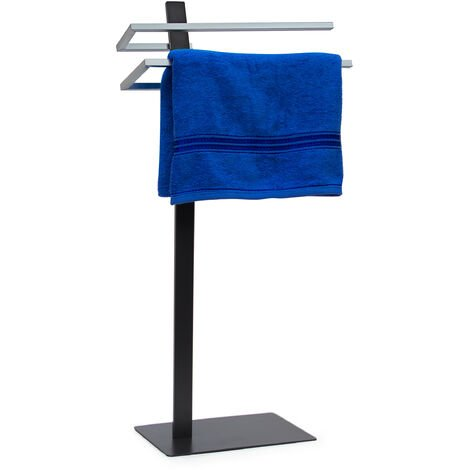Relaxdays Towel Holder GRAO 85 x 40 x 20 Free-Standing Towel Stand with 2 Rails, 2 Arms & Chromed Towel Bars in Stainless Steel Look, Modern Bath Towel Holder Elegant & Stylish, Grey