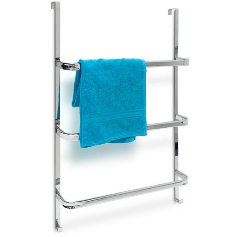 Relaxdays Towel Holder with 3Rails: 85x 54x 11cm Stainless Steel for All Standard-Size Doors with no Drilling, Chrome Finish w/ 2Hooks, Modern Bathroom & Kitchen Style,Metallic Silver