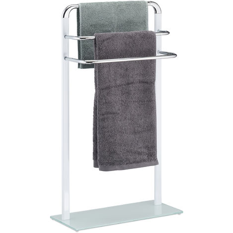 """main image of """"Relaxdays Towel Rack, Chromed Metal Towel Holder, HWD 80x45x20 cm, Clothes Valet, 3 Rails, White/Silver"""""""